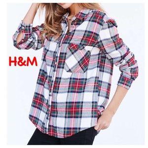 H&M L.O.G.G. Plaid flannel shirt w/elbow patches